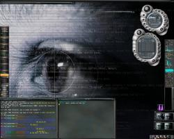 Cyrus etheme, Cyrus GTK, GKrellM with cyrus skin on the right and SteelX on the left, background from http://tigert.gimp.org, Eterm and xmms with Vibrocentric kjofol skin